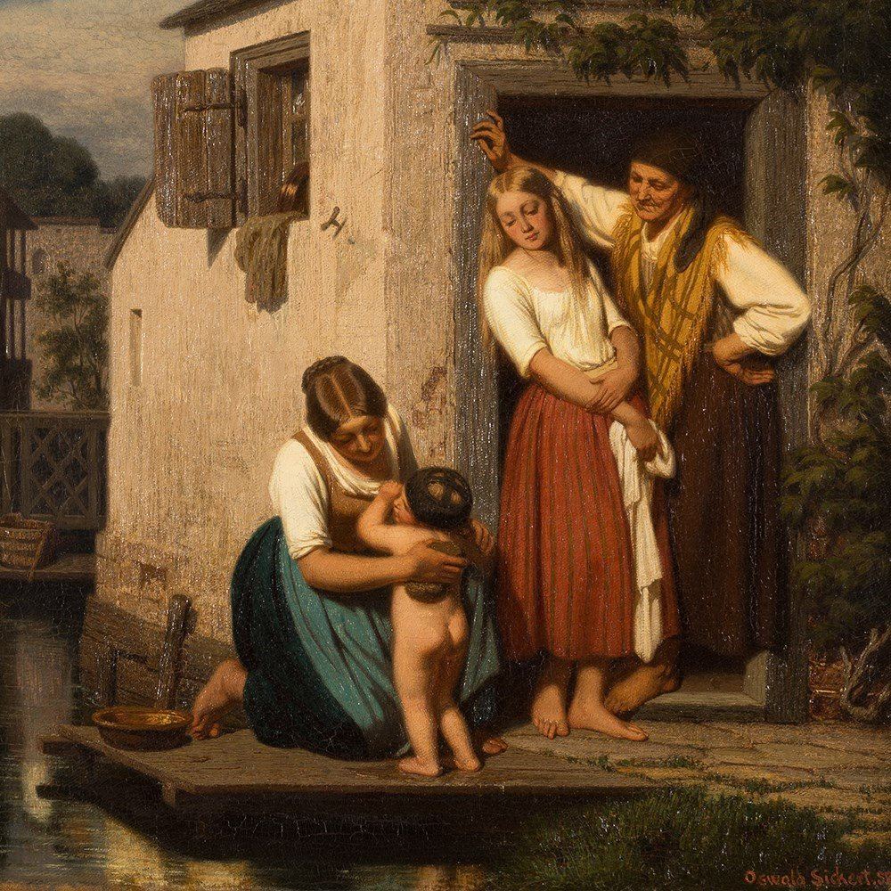 Oswald Adalbert Sickert, Family Scene, Oil Painting, - 9