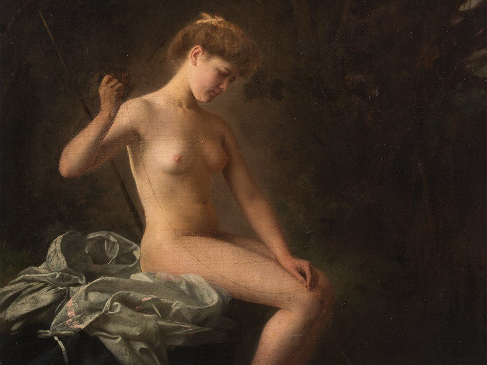 Raimund von Wichera, Attrib., Female Nude, Oil, c. 1900