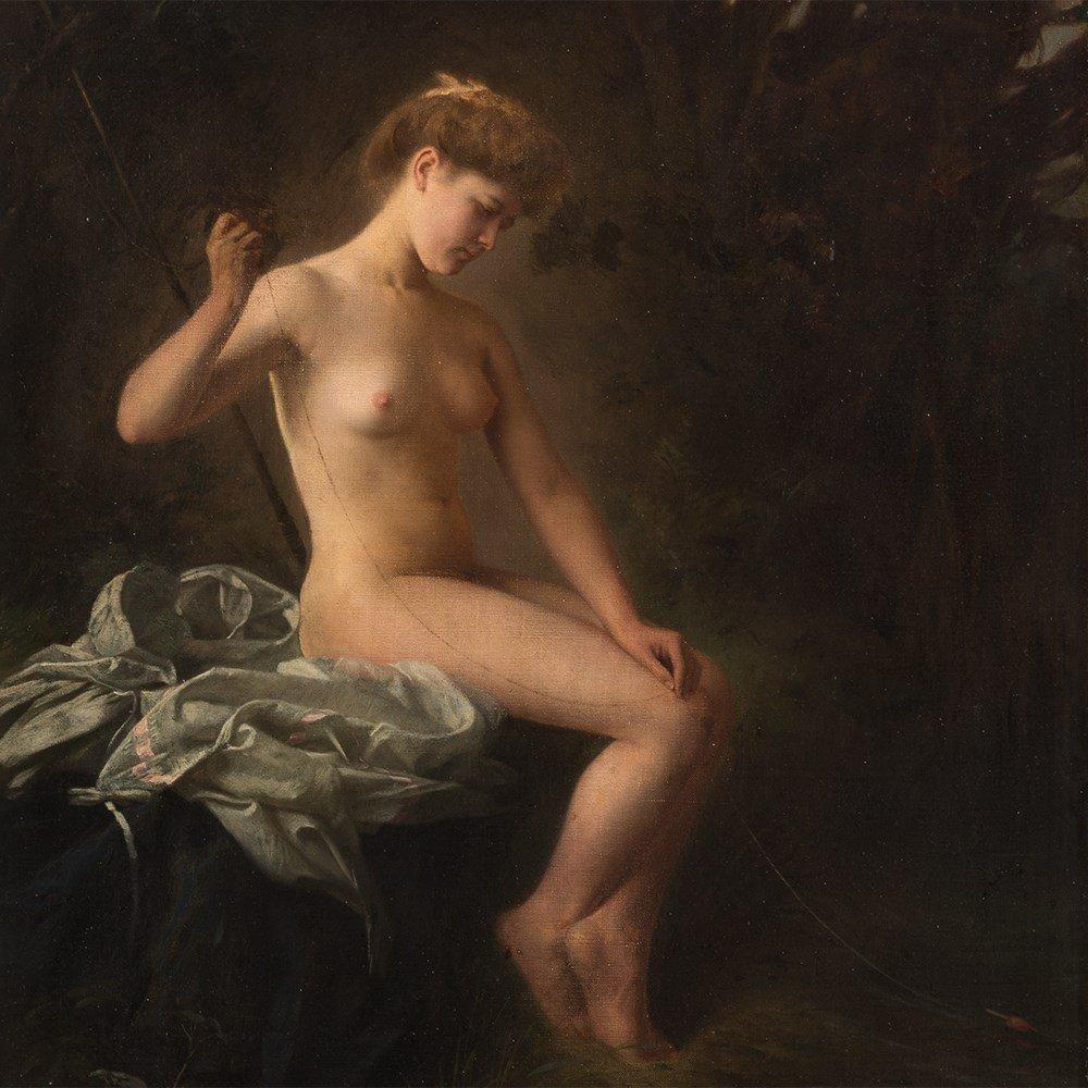 Raimund von Wichera, Attrib., Female Nude, Oil, c. 1900 - 8