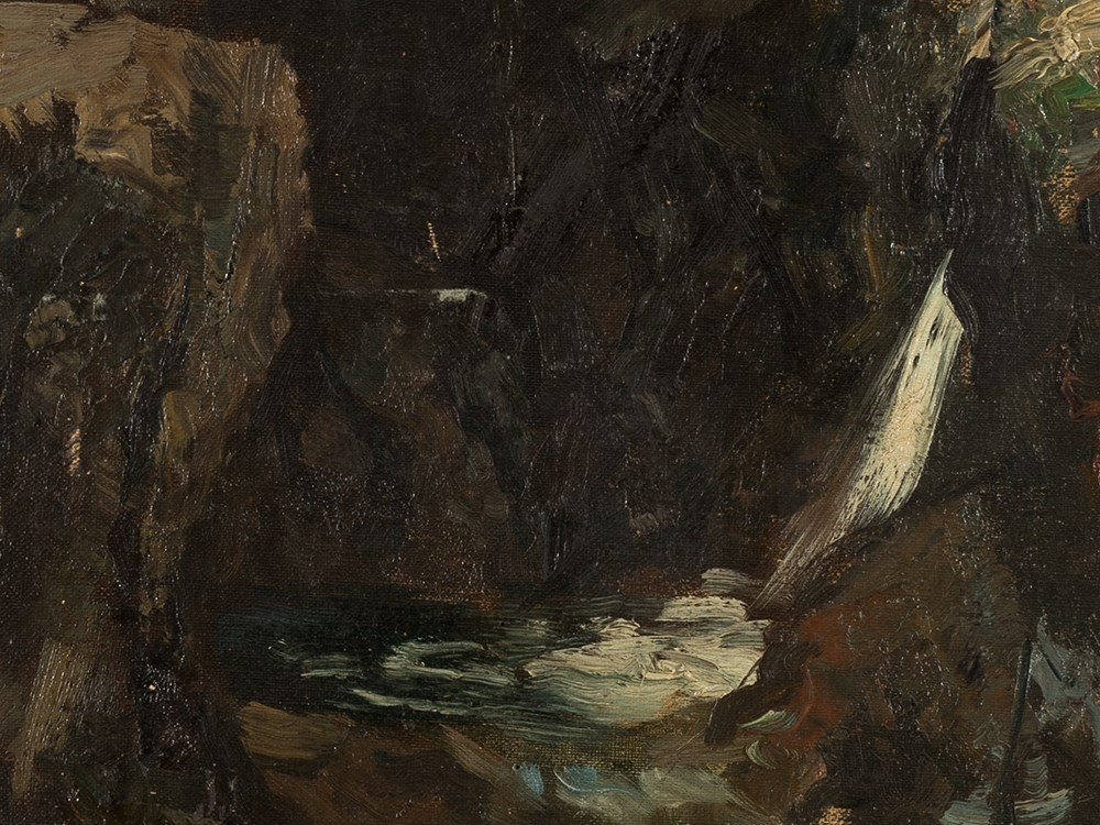 Ferdinand Brütt, Waterfall, Oil Painting, 1895 - 4