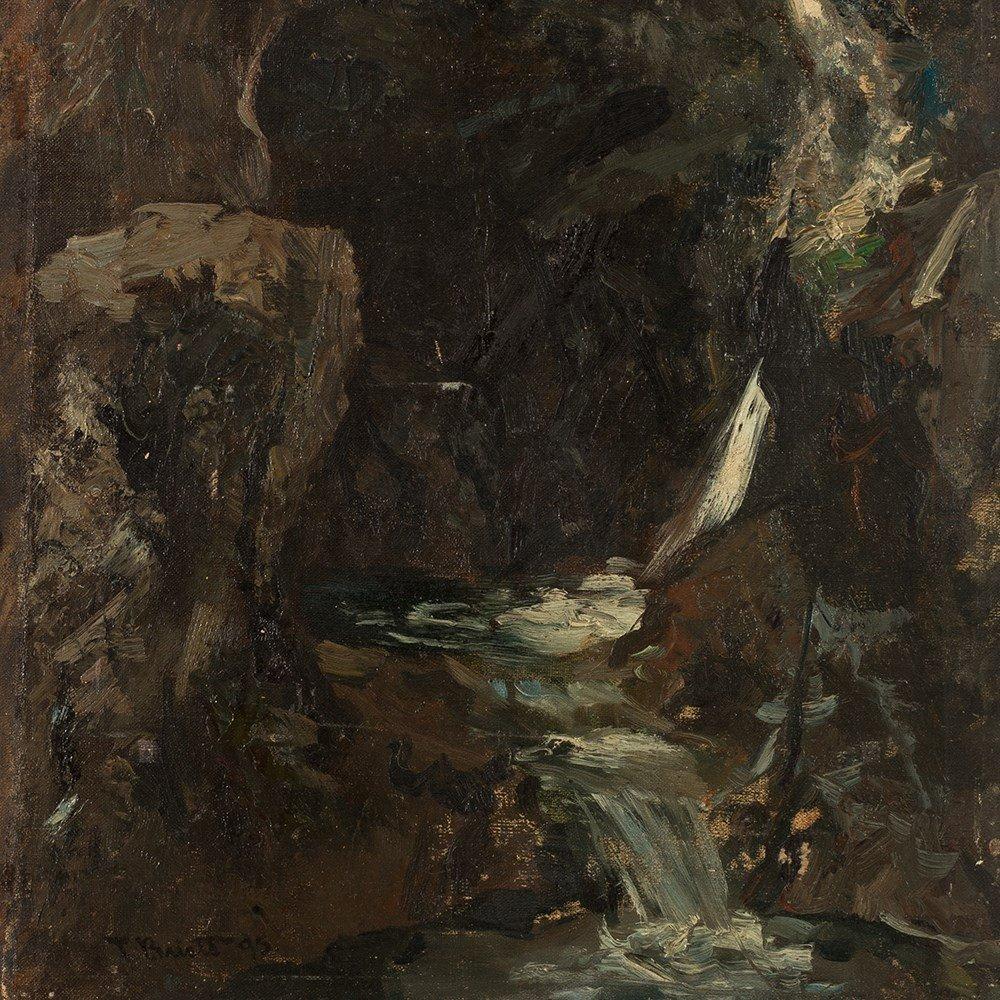 Ferdinand Brütt, Waterfall, Oil Painting, 1895 - 7
