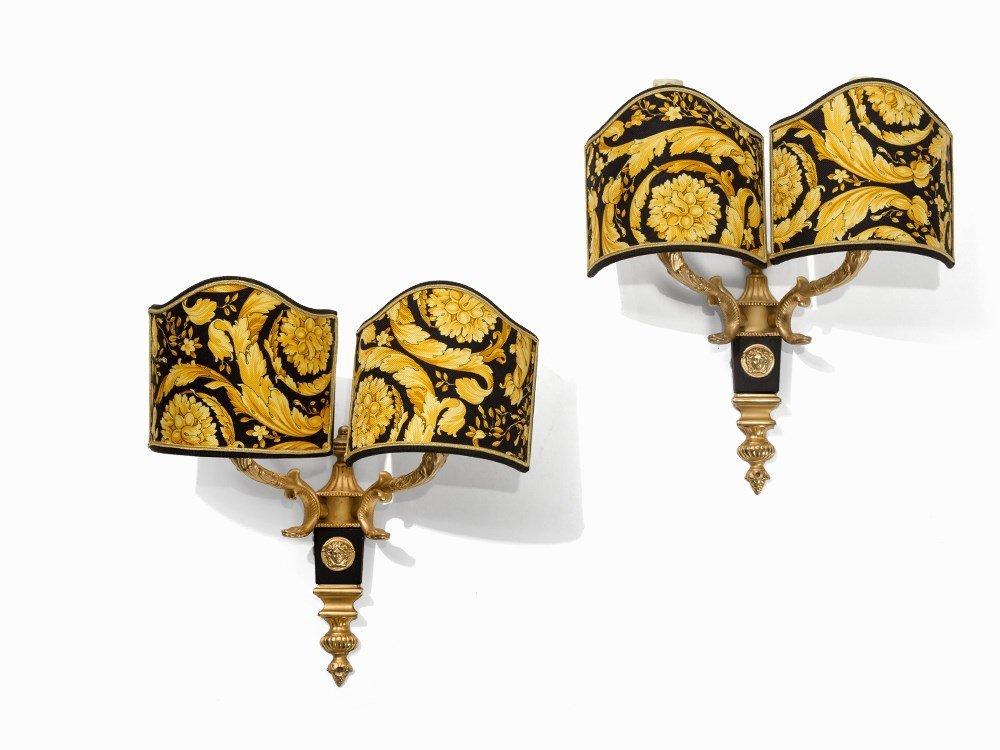 Gianni Versace, A Pair of Gilt Medusa Wall Sconces,