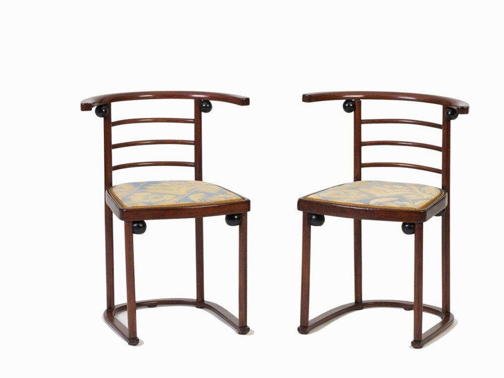 Josef Hoffmann, J&J. Kohn, Pair of 'Fledermaus' Chairs,