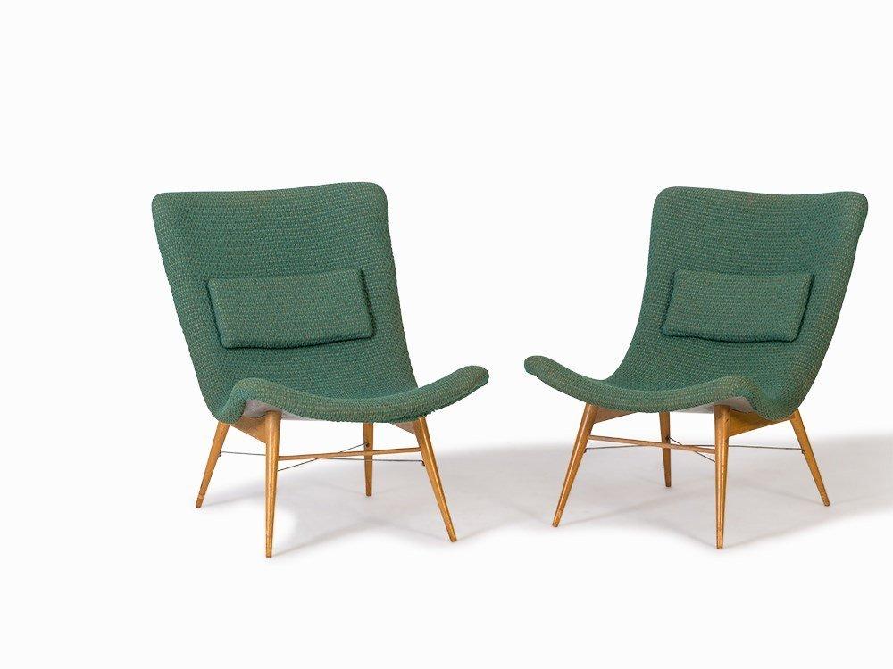 Miroslav Navratil, Pair of Easy Chairs, Cesky Nábytek,