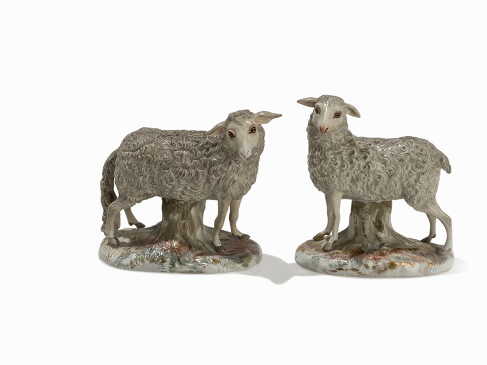 Meissen, Pair of 'Sheep' Figures, Mid-19th C.
