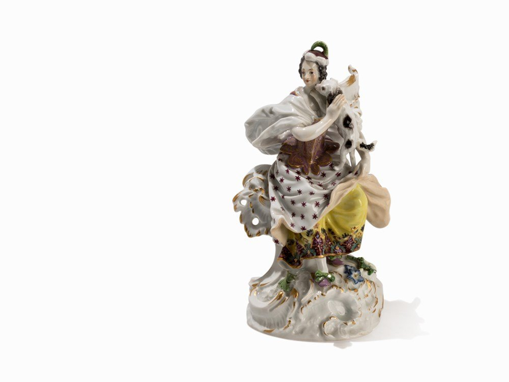 Meissen, Porcelain Group, Lady with Dog,19th C.