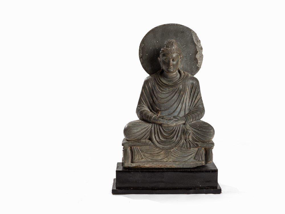 Gray Schist Figure of Seated Buddha in Meditation,