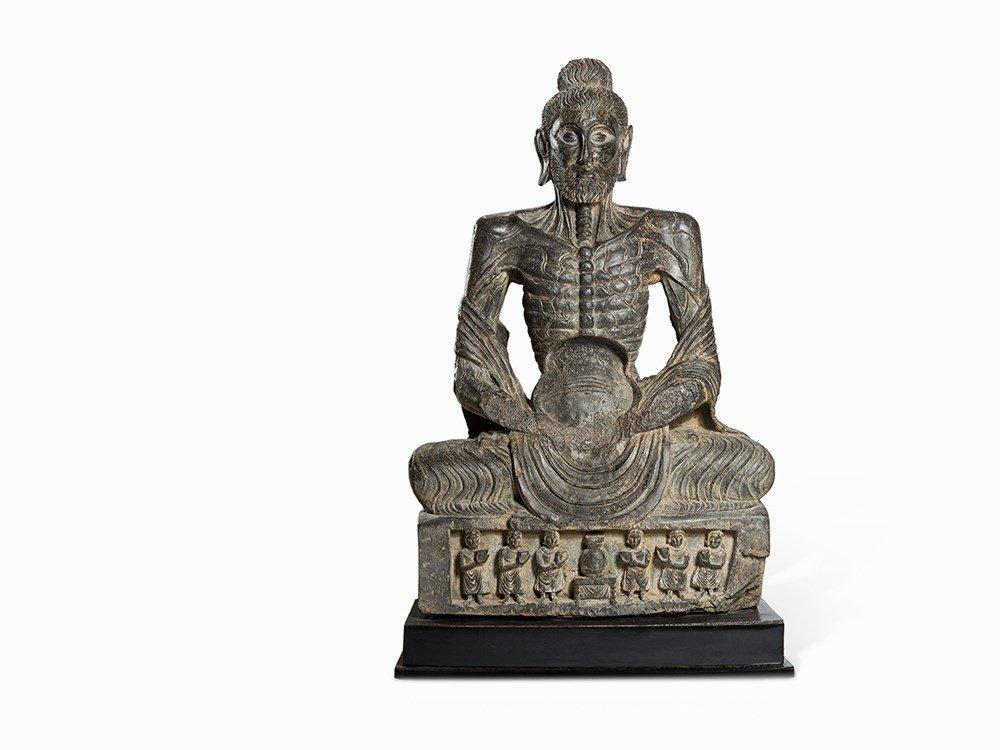 Very Rare Schist Figure of the 'Fasting Buddha',