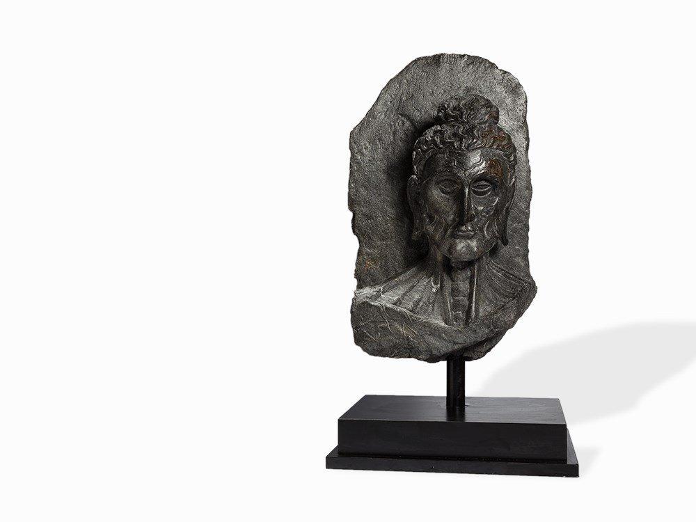 Gray Schist Head of Fasting Buddha, Gandhara, 2nd-4th
