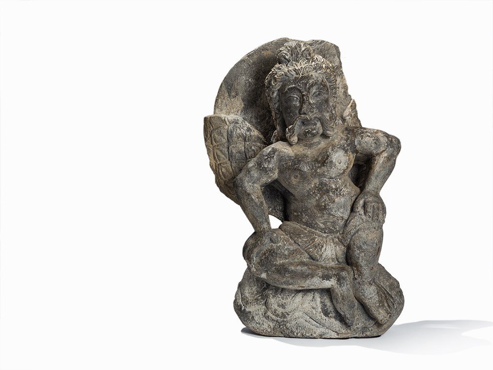 Gray Schist Figure of a Winged Atlas, Gandhara, 2nd-4th