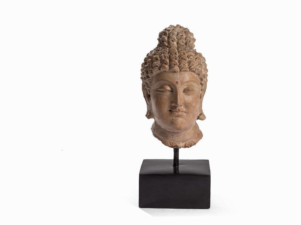 TerracottaHead of a Buddha, Gandhara, 3rd-5th C.