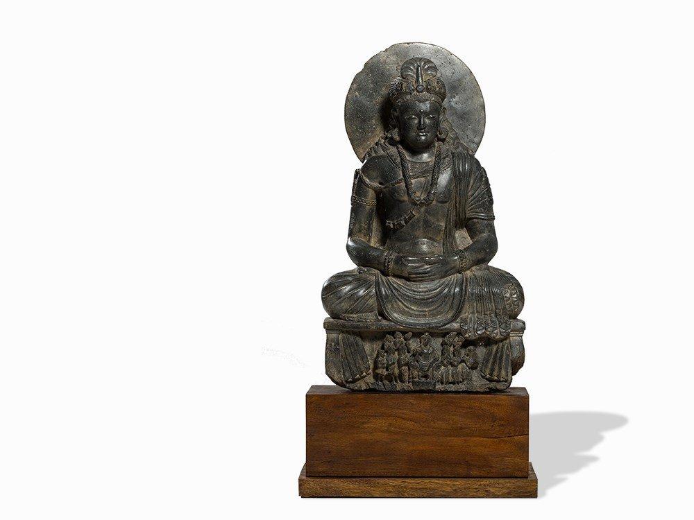 A Gray Schist Figure of Seated Maitreya, Gandhara