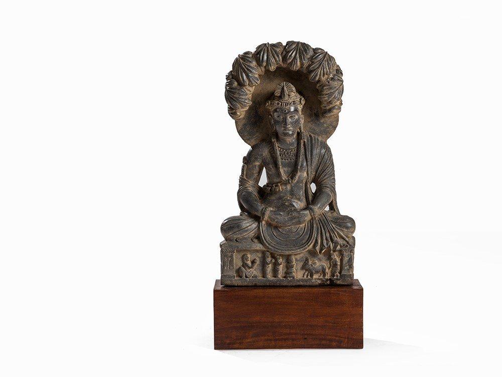 Gray Schist Figure of Maitreya under the Bodhi Tree,