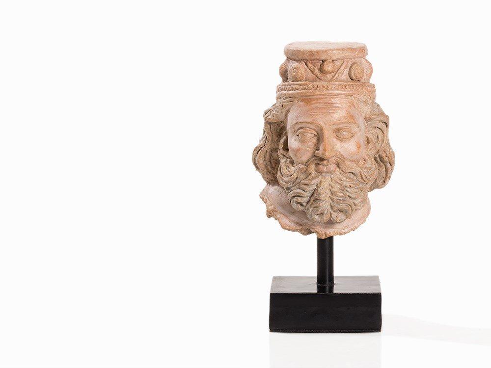 Terracotta Head of a Bearded Man, Gandhara, 3rd-5th C.