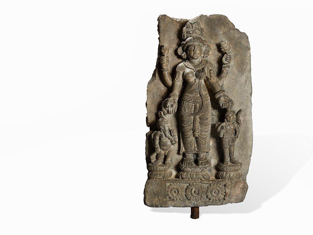 Schist Relief Panel of Goddess Parvati, Gandhara,