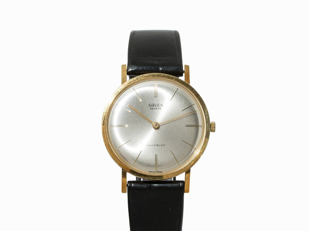 Gruen Genève Wristwatch, 18K Gold, Switzerland, 1960s