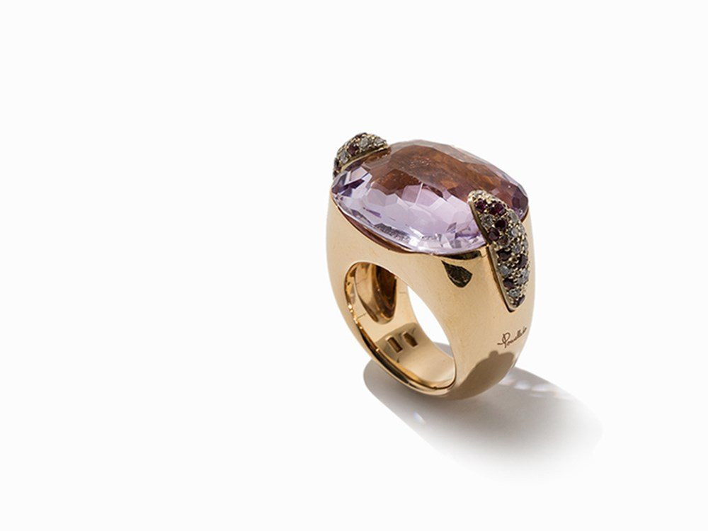 Pomellato, Statement Ring with Amethyst & Diamonds, 18K