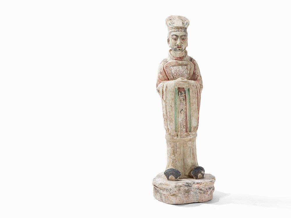 Pottery Figure of a Standing Court Official, China,Tang