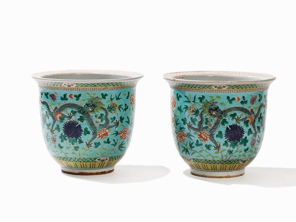 Pair of Turquoise-Ground Jardinieres, Guangxu, 19th C.