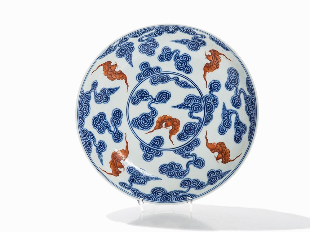 Blue-and-White Dish with Décor of Bats in Iron Red,