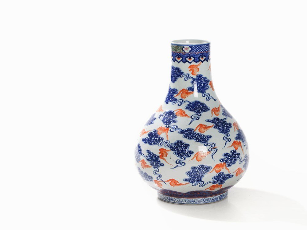 Blue-and-White Vase with Bat Motifs, late Qing Dynasty