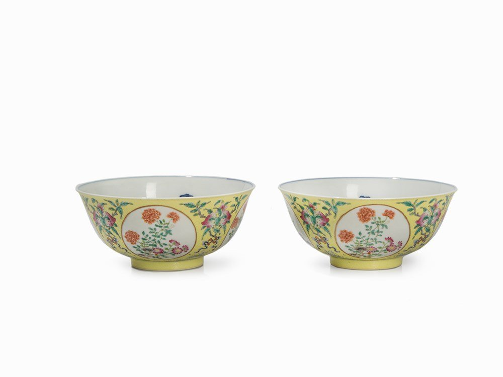 Pair of Yellow-Ground Medallion Bowls with Flowers,