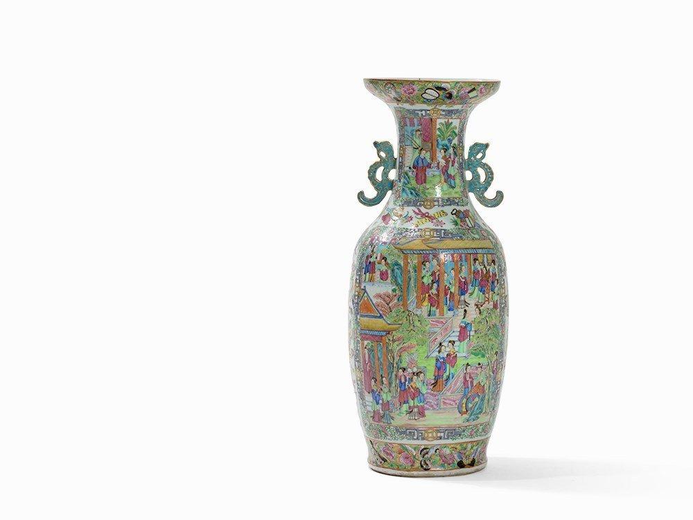 Large Canton Famille Rose Baluster Vase, China, 19th C.