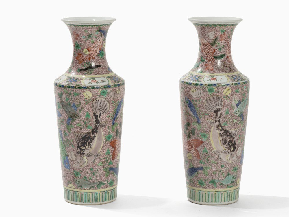 A Pair of Wucai Vases with Fish Décor, China, 19th C.