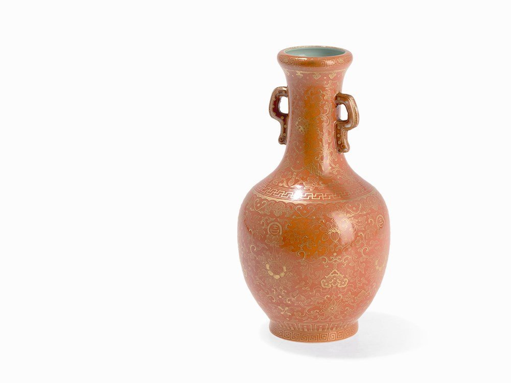 A Coral-Ground Bottle Vase, China, 19th C.