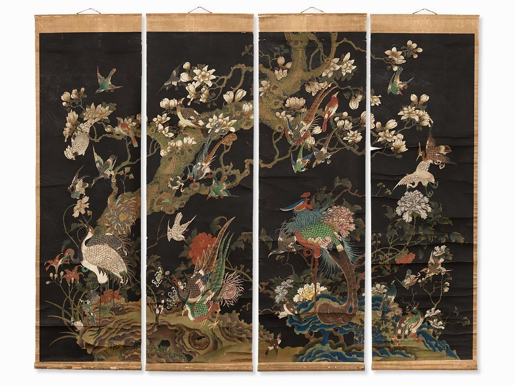Set of 4 Scroll Paintings, Birds and Flowers, 18/19th