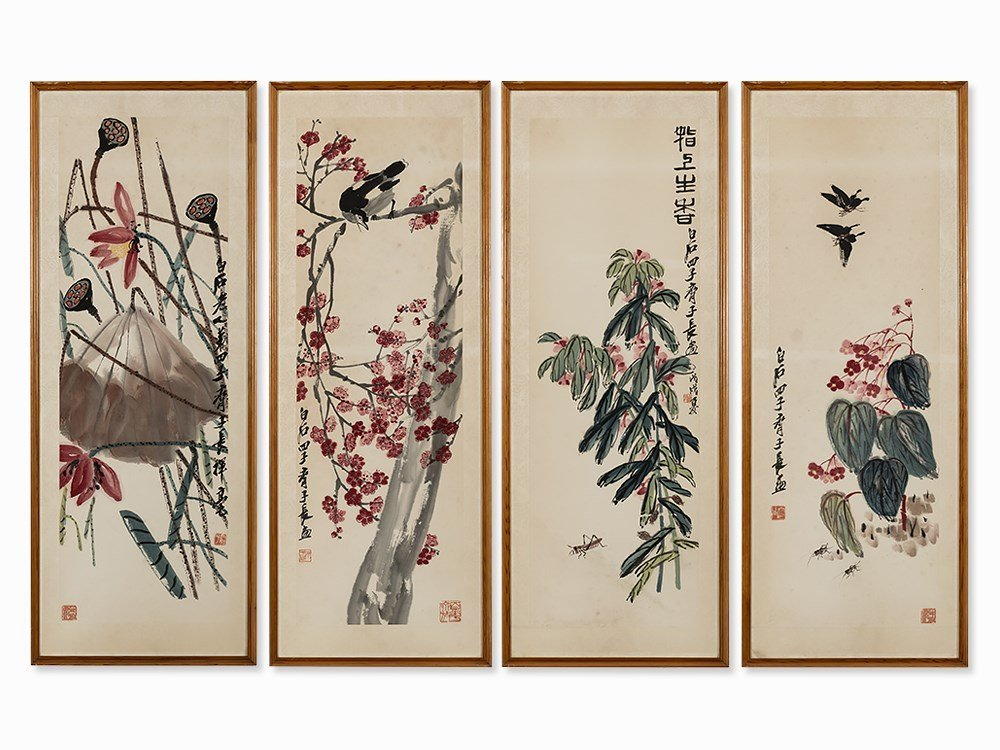 Qi Liangchi, Set of Four Paintings, Spring/Summer,