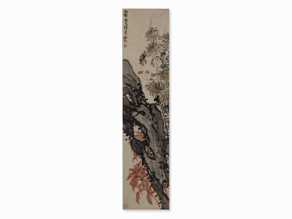 Chen Shizeng, Autumn Flowers at Rock, Hanging Scroll,