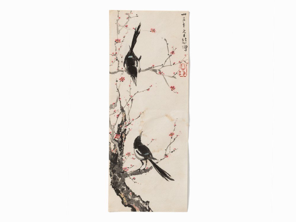 Xu Beihong, Study of Magpies on Blossoming Branch,