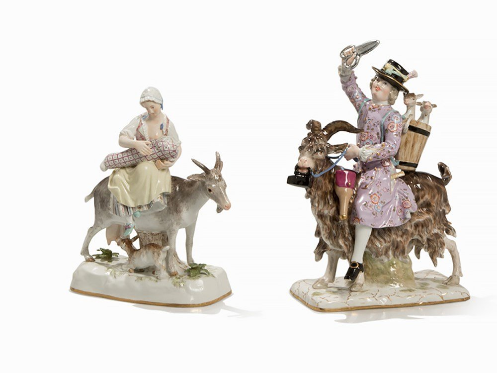 Meissen, Porcelain Group with Tailors and Goats, 2nd H