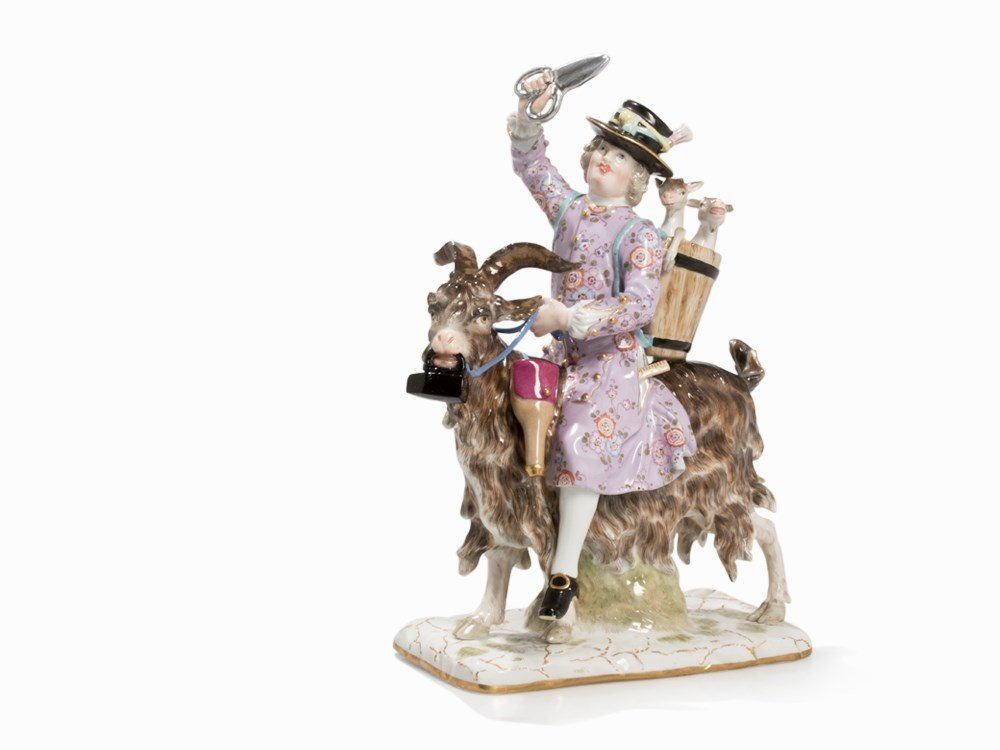Meissen, Porcelain Group with Tailors and Goats, 2nd H - 7