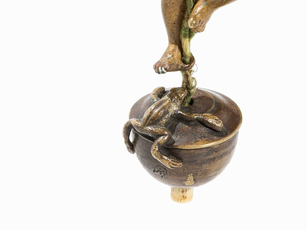 A Hanging Bell Push with Child and Frog, Austria, 20th - 5