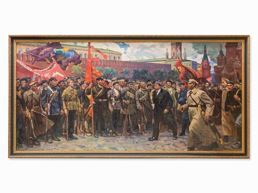 M. F. Kholuev, Lenin Leading the Bolsheviks, Oil, c. - 2