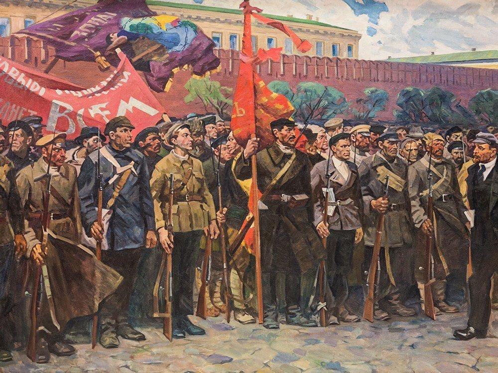 M. F. Kholuev, Lenin Leading the Bolsheviks, Oil, c. - 3