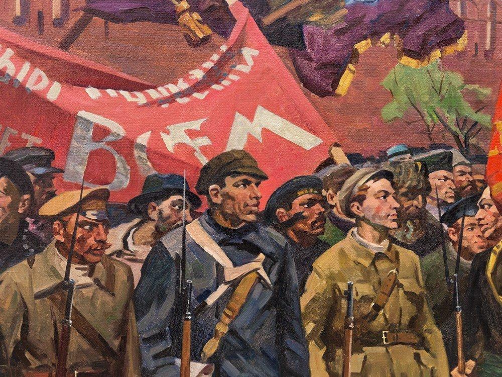 M. F. Kholuev, Lenin Leading the Bolsheviks, Oil, c. - 4