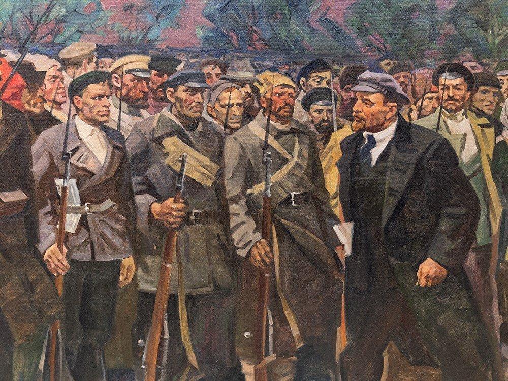 M. F. Kholuev, Lenin Leading the Bolsheviks, Oil, c. - 5
