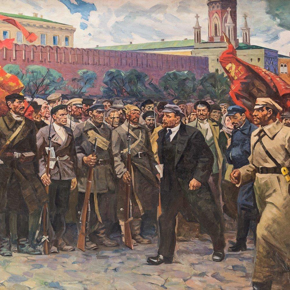 M. F. Kholuev, Lenin Leading the Bolsheviks, Oil, c. - 8
