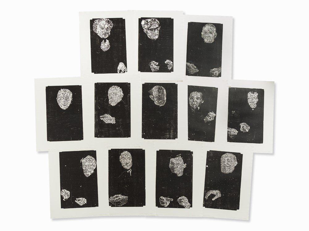 Matthias Mansen, Symposion (Köpfe), 12 Woodcuts, 1999
