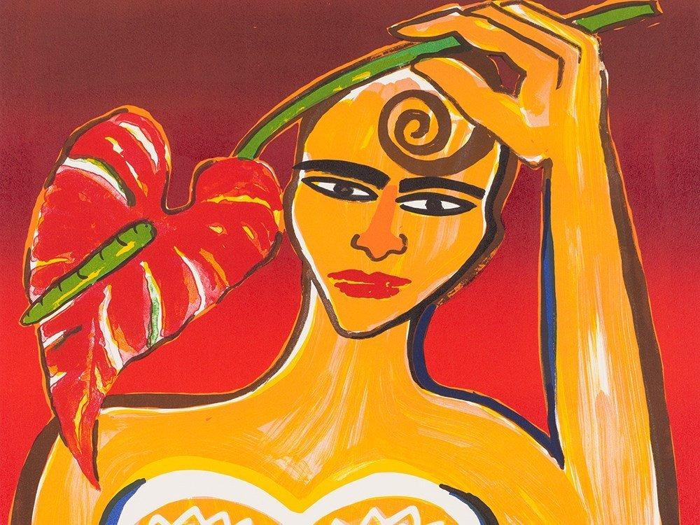 Elvira Bach, Frau mit Anthurie, Color Lithograph, 1999