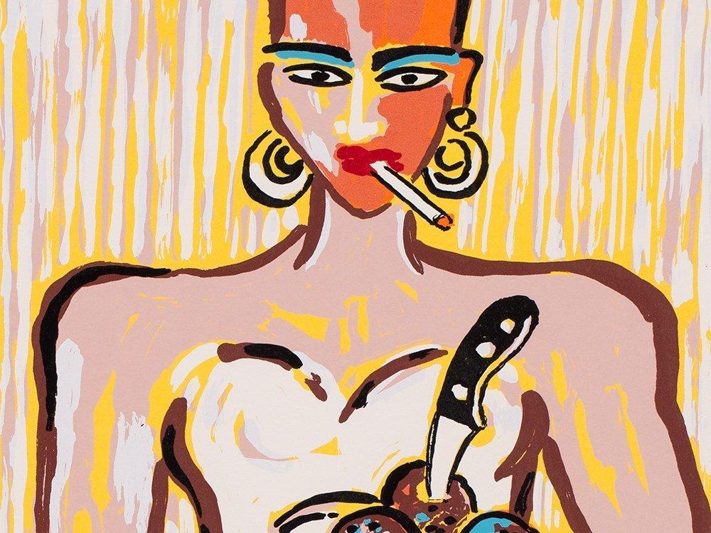 Elvira Bach, Küchendiva, Serigraph in Colors, 2001
