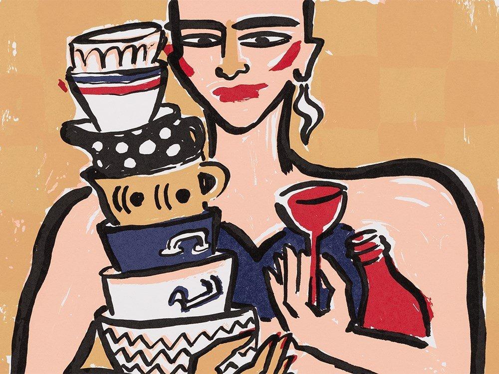 Elvira Bach, Kitchen Diva, Serigraph in Colors, 1990