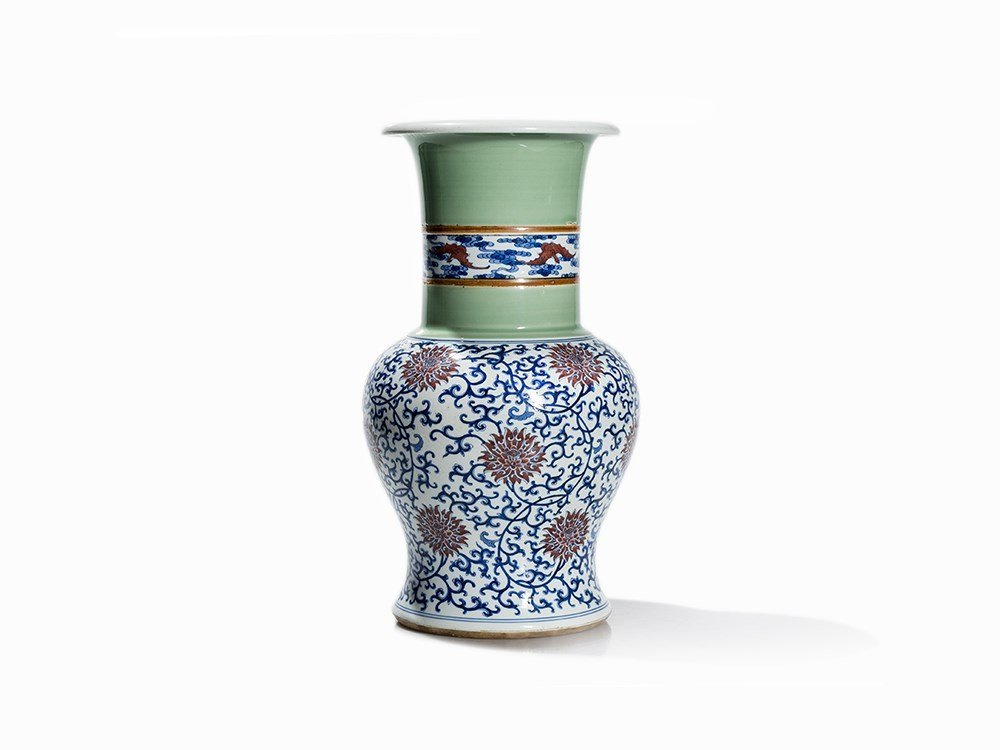 Celadon and Underglaze Blue decorated Yen-Yen Vase,