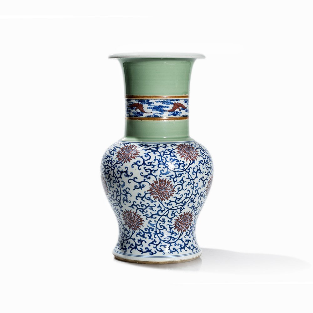 Celadon and Underglaze Blue decorated Yen-Yen Vase, - 6