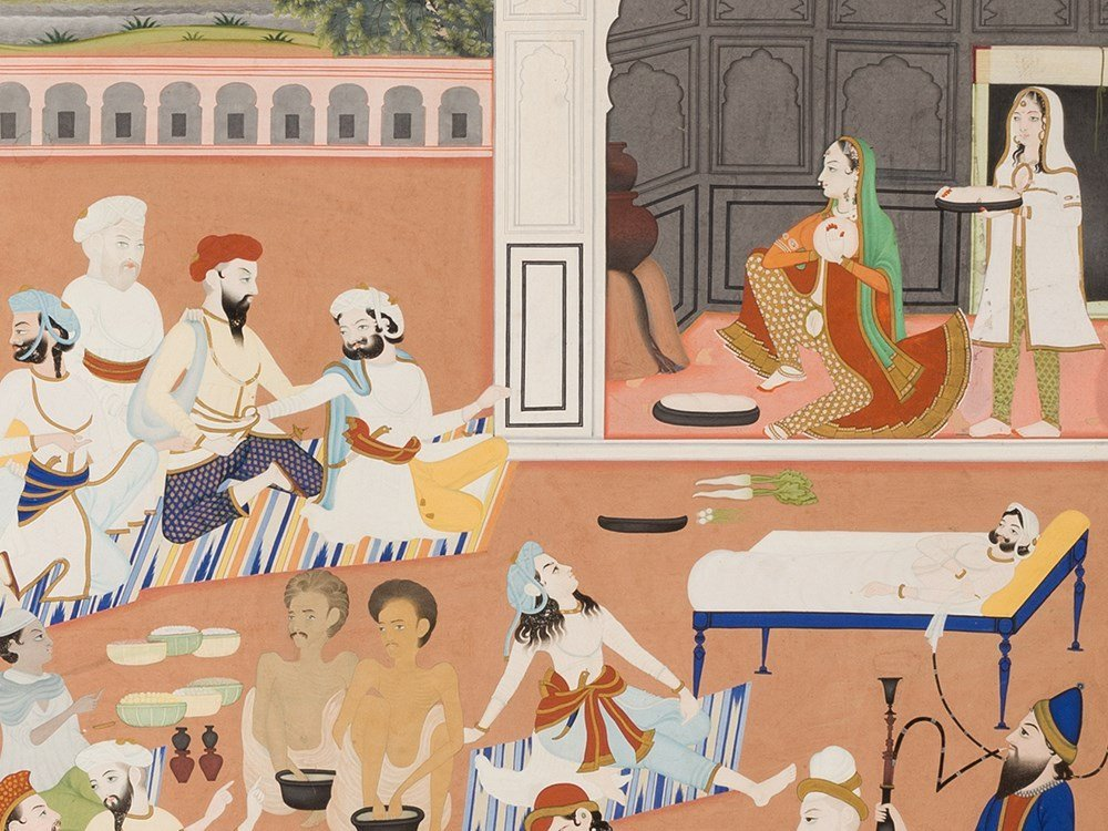 In the Palace Garden, Gouache, Pres. India, Early 20th - 4