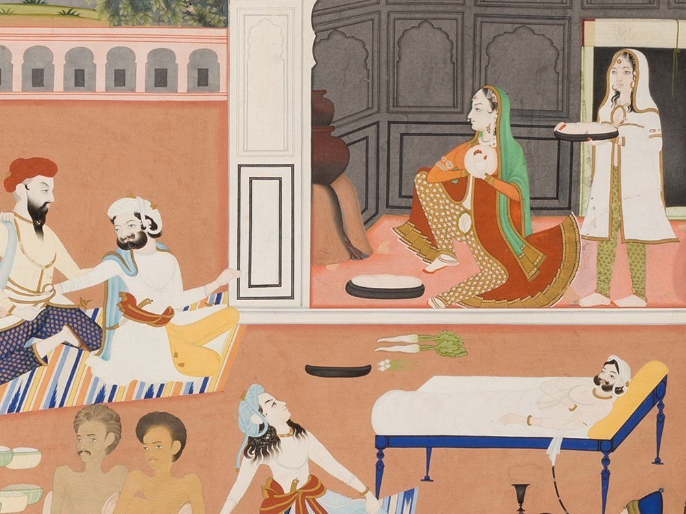 In the Palace Garden, Gouache, Pres. India, Early 20th - 5
