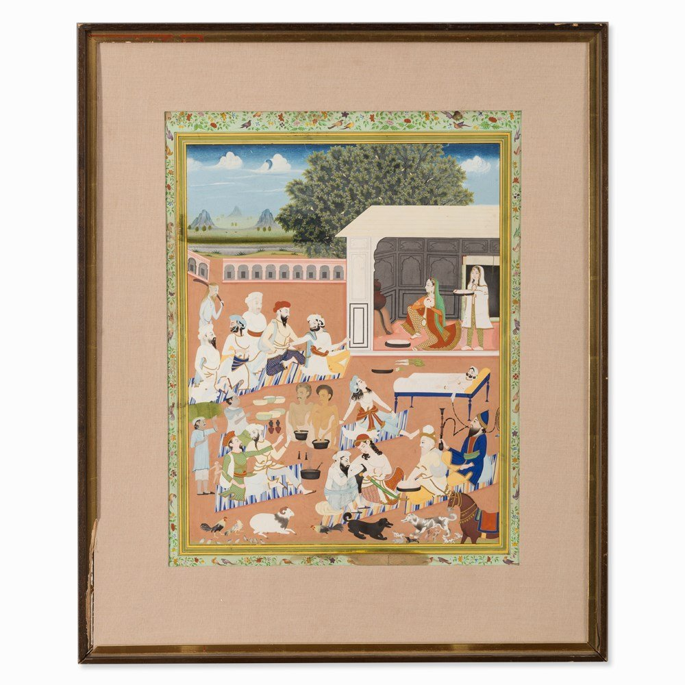 In the Palace Garden, Gouache, Pres. India, Early 20th - 7